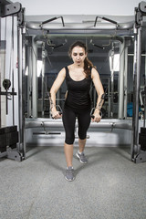 young beautiful woman doing fitness in the gym. strength training at the gym