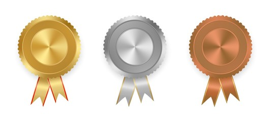 Set of vector labels gold, silver and bronze with ribbons with red and gold ribbon with white on white background. Collection of world winning award medals . Gold medal, bronze medal, silver medal