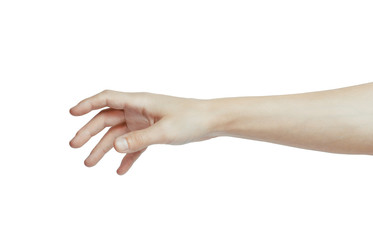 A hand is reaching out so it can shake hands.