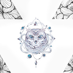 Seamless pattern of a wise owl and triangle in flowers on a white background.
