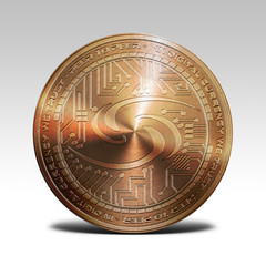 copper syscoin coin isolated on white background 3d rendering