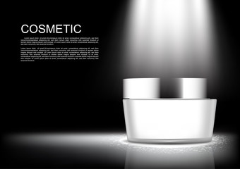 Night cream and spotlight on dark background vector white cosmetic collection