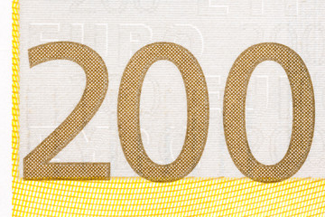 Photographed number in two hundred banknote euro.