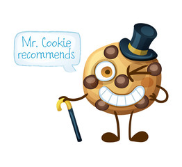 Funny smiling Mr Cookie character. Choc chip cookies emoji icon isolated on white background. Cartoon vector illustration.