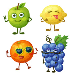 Funny fruit characters isolated on white background. Cheerful food emoji. Cartoon vector illustration: green apple, sour yellow lemon, cheerful orange, calm blue grape
