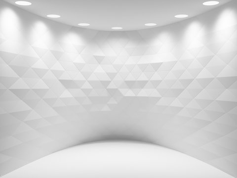 Abstract white interior background, room with triangle background and soft illumination. Digital 3d illustration, computer graphic.