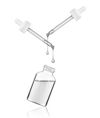 Cosmetic or medical bottle with two pipettes on white background