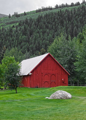 Old Red Barn in the Mountains