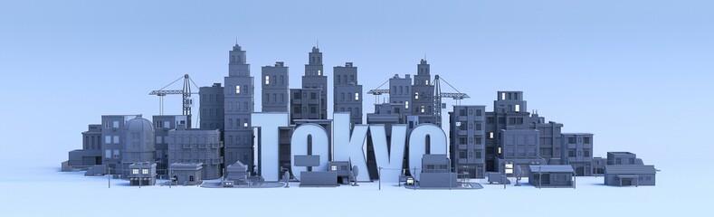 tokyo lettering, city in 3d render