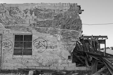 Destroyed Building with Mural in Cisco, Utah