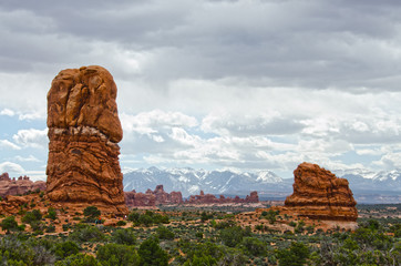 The Windows at Arches and La Sal Mountains Beyond