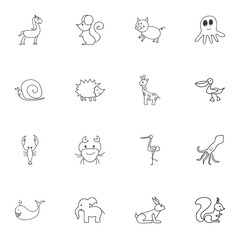 Set Of 16 Editable Animal Icons. Includes Symbols Such As Shadoof, Chipmunk, Rabbit And More. Can Be Used For Web, Mobile, UI And Infographic Design.