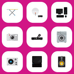 Set Of 9 Editable Technology Icons. Includes Symbols Such As Notebook, Antenna, Laundromat And More. Can Be Used For Web, Mobile, UI And Infographic Design.
