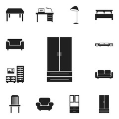 Set Of 12 Editable Furniture Icons. Includes Symbols Such As Seat, Illuminant, Wooden Table And More. Can Be Used For Web, Mobile, UI And Infographic Design.
