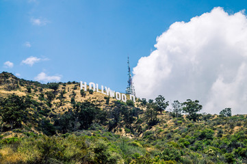 Hollywood inscription on the hills in Los Angeles