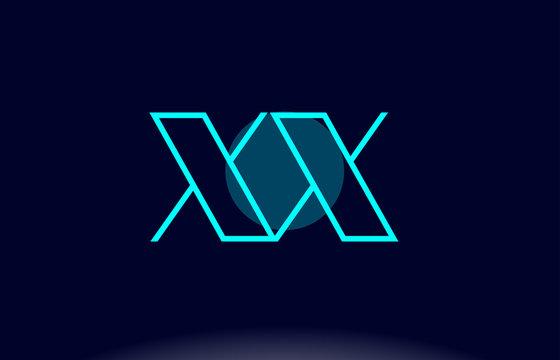 xx x x blue line circle alphabet letter logo icon template vector design
