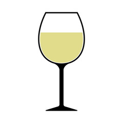 White Wine Glass Icon Isolated