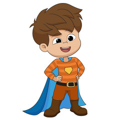 Boy wearing superhero costume.vector and illustration.