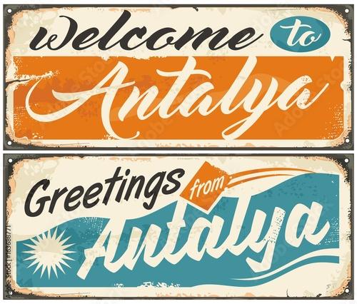 Welcome to antalya retro souvenir signs set from one of the most welcome to antalya retro souvenir signs set from one of the most popular summer destinations in m4hsunfo