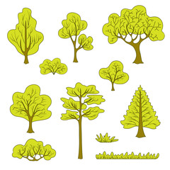 Set of flat abstract trees and plants for the drawn wood and the forest
