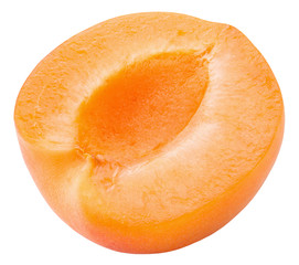 half of apricot isolated on a white background