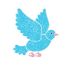 Blue pigeon bird flying, vector isolated.