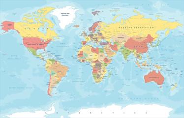 Vintage Colored World Map - Vector Illustration