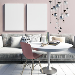 Cozy modern interior living room in a dirty pink. A relaxation area. Poster mockup. 3d illustration