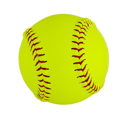 Softball isolated on white background. Details of the skin and the seams are noticeable. Clipping path is included