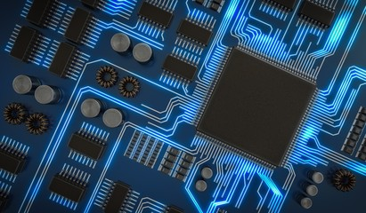 3D rendered illustration of processor or microchip. View from top.