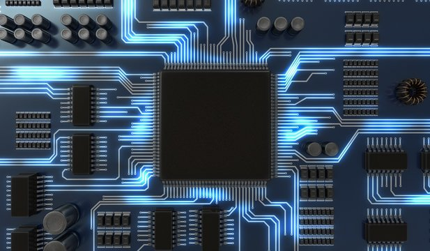 3D rendered illustration of processor or microchip on electronic circuit.