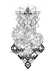 Boho print. Bouquet with Peony flowers. Beautiful black and white graphics for t-shirts. Mystic tattoo. Vector illustration eps 10.