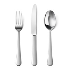 Set of fork, knife and spoon isolated on white. Vector illustration. Ready for your design.