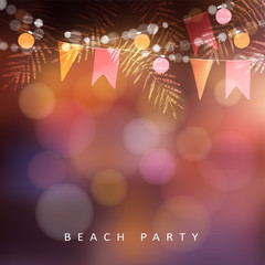 Beach party, Festa Junina or Midsummer greeting card, invitation. Garden party decoration, string of light bulbs, paper flags and palm leaves. Modern blurred background. Vector illustration.