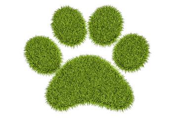 Animal green grass footprint, 3D rendering