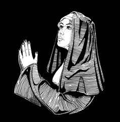 Nun is praying.