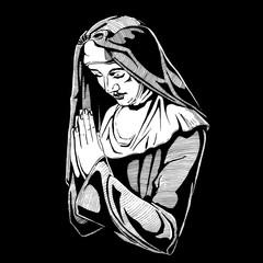 Nun is praying.