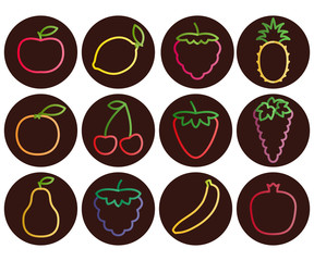 Outline fruit and berries icons with gradient, set of dark round icons, vector illustration.