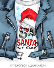 Watercolor illustration. Hand painted leather jacket with skull in Santa hat. Words Santa is not dead. Rock style girl. Christmas, New Year symbol.