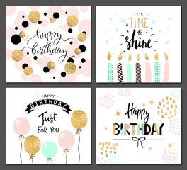 Happy birthday greeting cards and party invitation templates with lettering text. Vector illustration. Hand drawn style.