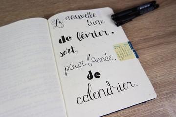 Carnet / agenda personnalisé. Lettrage et calligraphie.