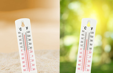 Tropical temperature, measured on an outdoors thermometer with compare between the nature environment concept.