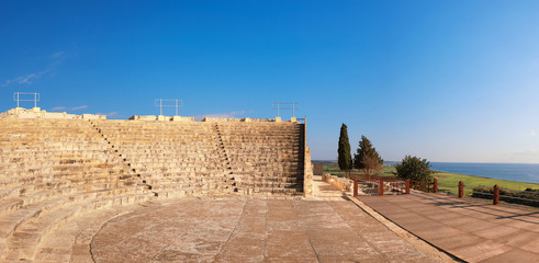 Wall Mural - Small greek amphitheater in archaeological site in Paphos, Cyprus