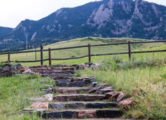 Stone pathway with mountain background