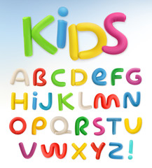 3d plastic font. Children and school vector set