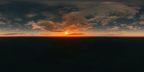 360 degree seamless panorama background image for VR (sunset)