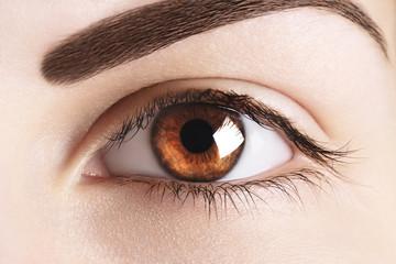 Beautiful macro image of woman close up eye