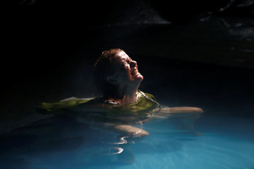"""An actress of Unifaun Theatre takes part in the dress rehearsal of an adaption of Roman poet Ovid's """"Metamorphoses"""" during the Malta International Arts Festival in Valletta"""