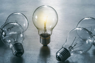 light bulb isolate on wood background
