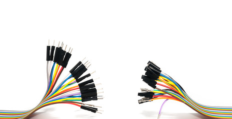 Color Cable isolated on white background, Networking concept